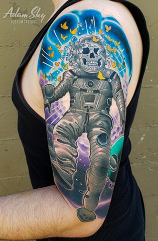 Nihilistic Astronaut Tattoo by Custom Tattoos by Adam Sky, Redwood City, California