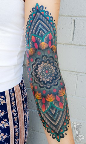 Color Mandala Tattoo by Adam Sky, Hold Fast Studio, Redwood City, Bay Area, California