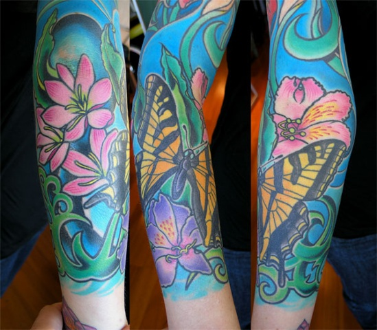 butterfly and flowers tattoo by Custom tattoos by Adam Sky, San Francisco, California