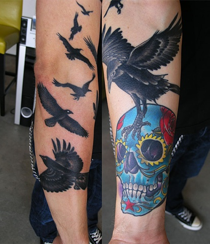Sugar skull and ravens tattoo by Adam Sky, San Francisco, California