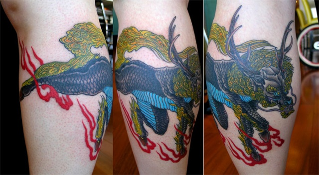 kirin tattoo by Custom tattoos by Adam Sky, San Francisco, California