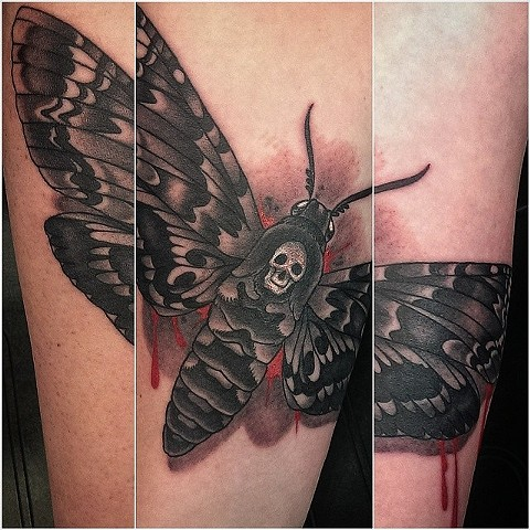 Deaths Head Moth by Custom tattoos by Adam Sky, San Francisco, California