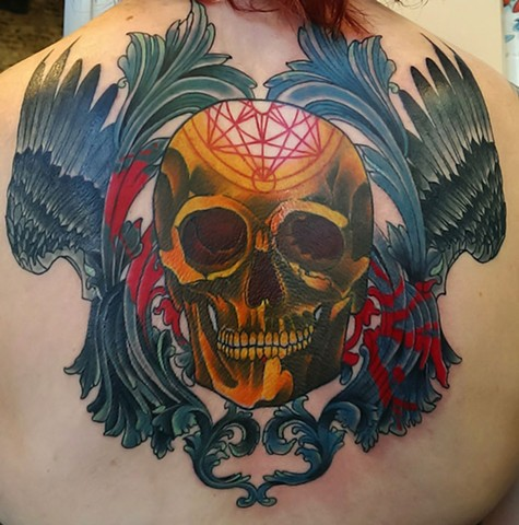 Skull with wings tattoo by Custom tattoos by Adam Sky, San Francisco, California
