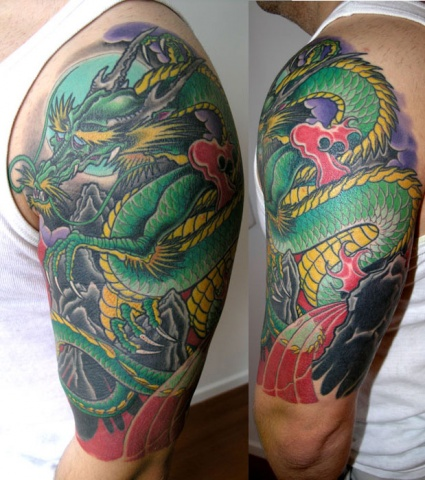 green dragon tattoo by Adam Sky, San Francisco, California