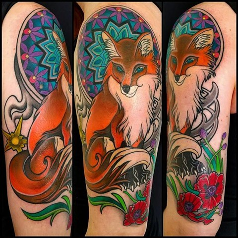 Fox Tattoo by Adam Sky, San Francisco, California