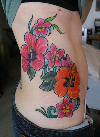 plumeria and hibiscus flowers tattoo by Custom tattoos by Adam Sky, San Francisco, California