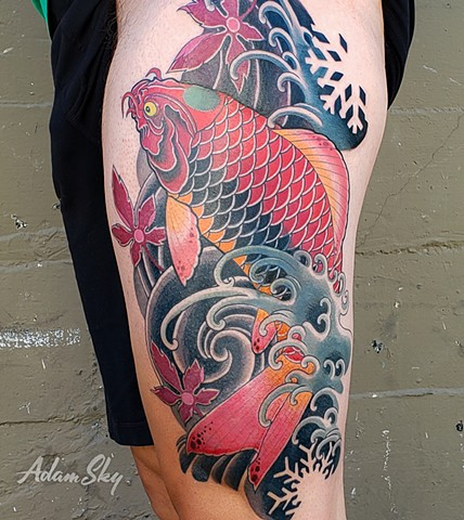 Red Koi and Japanese Maple Leaves Tattoo by Custom Tattoos by Adam Sky, Redwood City, California
