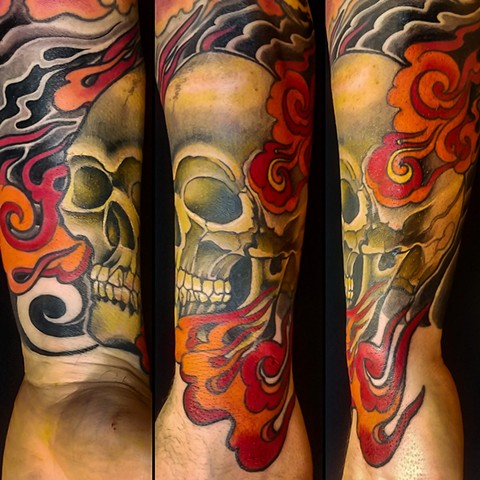 Skull and Flames Tattoo by Adam Sky, San Francisco, California