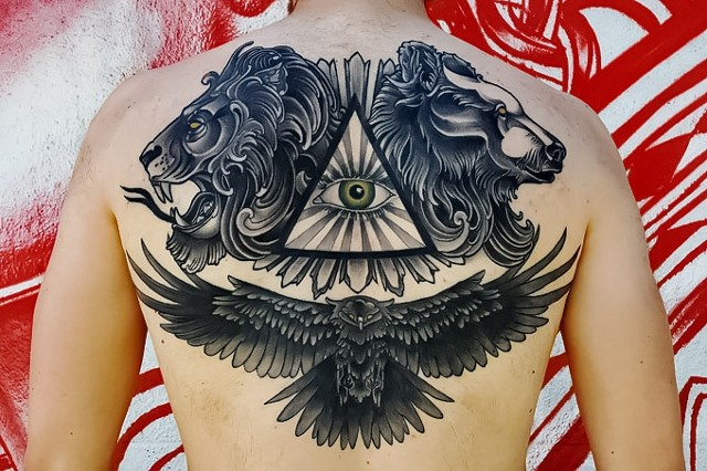 Lion, Bear and Eagle Tattoo by Adam Sky, Redwood City, California