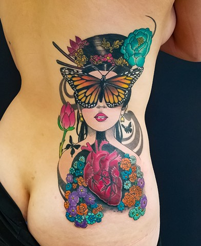 Butterfly Lady Tattoo by Adam Sky, San Francisco California