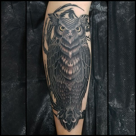 Owl Tattoo by Custom Tattoos by Adam Sky, San Francisco, California
