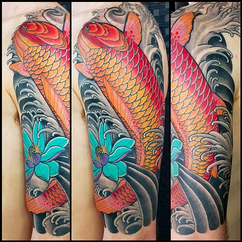 Koi Fish Half Sleeve by Adam Sky, Redwood City, California