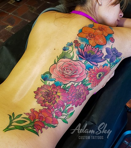 Flowers on Back Tattoo by Custom Tattoos by Adam Sky, Redwood City, California