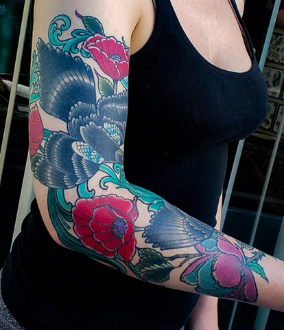 Magpies and Poppies Tattoo by Adam Sky, Hold Fast Studio, Redwood City, California