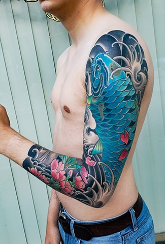Blue Koi Fish Sleeve Tattoo by Adam Sky, Hold Fast Studio, Redwood City, Bay Area, California