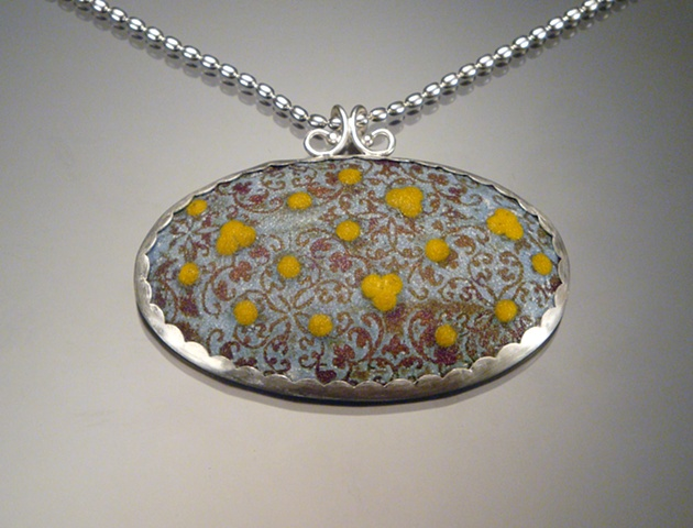 Light Blue Enamel Oval Wallpaper Necklace (large)