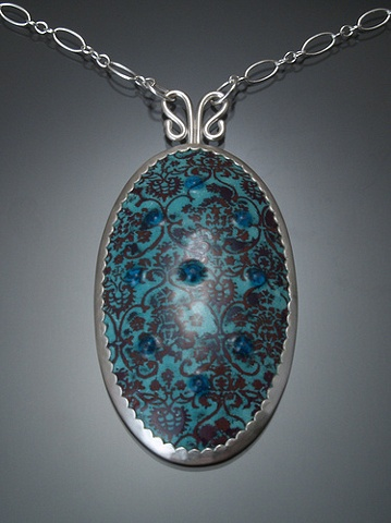 Turquoise Enamel Oval Wallpaper Necklace (large)