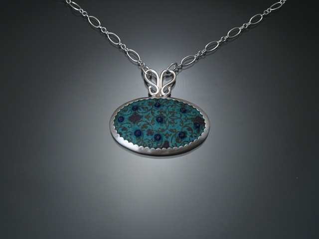 Turquoise Enamel Oval Wallpaper Necklace (small)