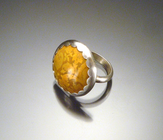 Orange Enamel Circle Ring (large)