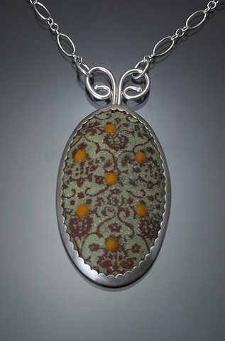 Lime Enamel Oval Wallpaper Necklace (small)