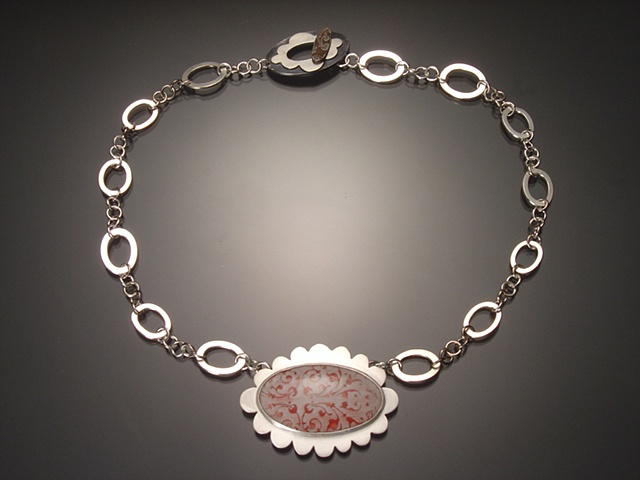 White Oval Enamel Necklace with Decorative Chain