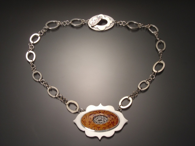 Orange Oval Necklace with Decorative Chain