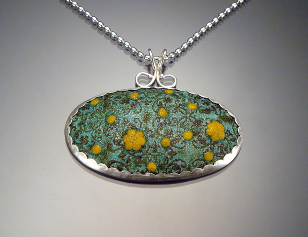 Blue Green Enamel Oval Wallpaper Necklace (large)