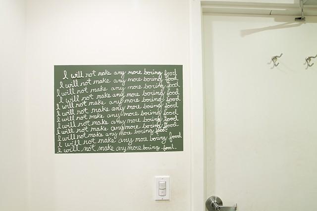 Installation view. Bathroom of 18 Reasons in San Francisco.