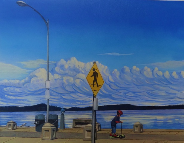 a boy and his scooter on Alki beach  painting by Patri O'Connor