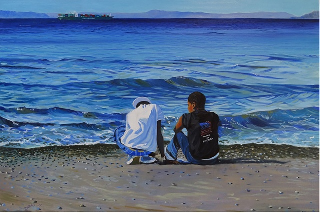 Inspired by song by Kanye West and JZ. Two African American boys on the Puget Sound beach at Allki.