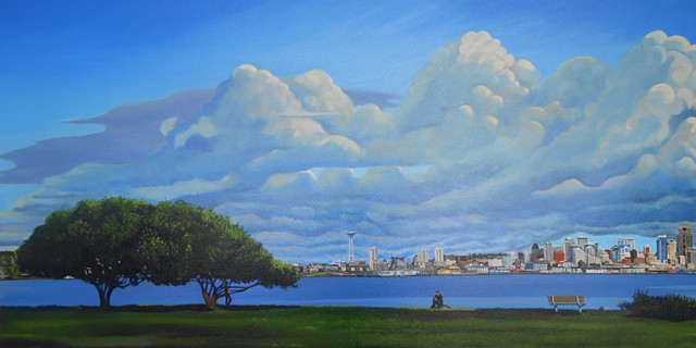 Seattle, impending doom Adam and Eve, Elliott bay, Alki, painting by Patri O'connor,