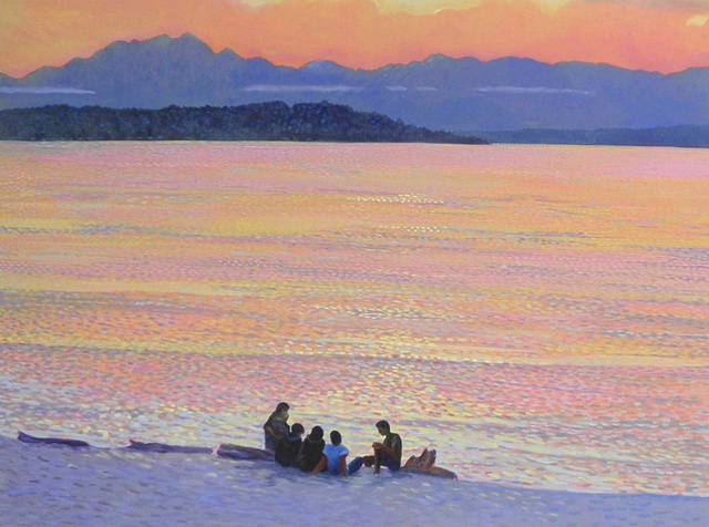 Alki, Seattle,group of people on the beach, painting by Patri O'Connor