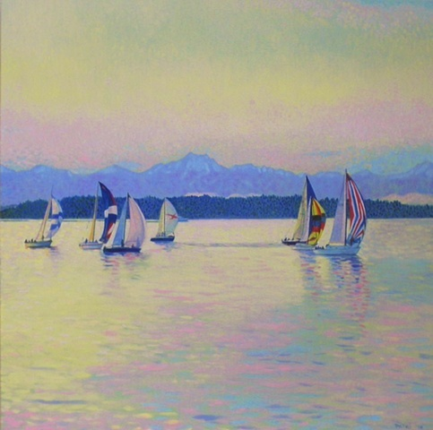 Inspired by song by Pearl Jam of same title, Regatta in the Puget Sound , Olympic Mountains with soft winter light, painting by Patri O'Connor                                                                   ri O'Connorri O'Connor