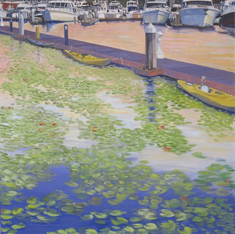 Carillon point Marina on Lake Washington , water lilies, Available at Lakeshore Gallery in Kirkland, Wa.painting by Patri O'Connor