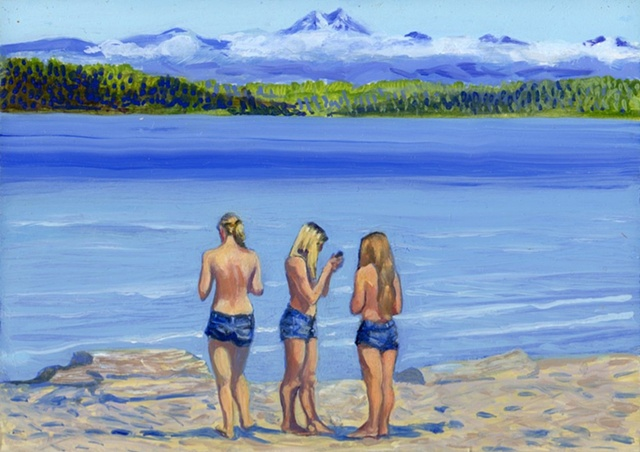 Greek mythology three graces on Alki painting by Patri O'Connor