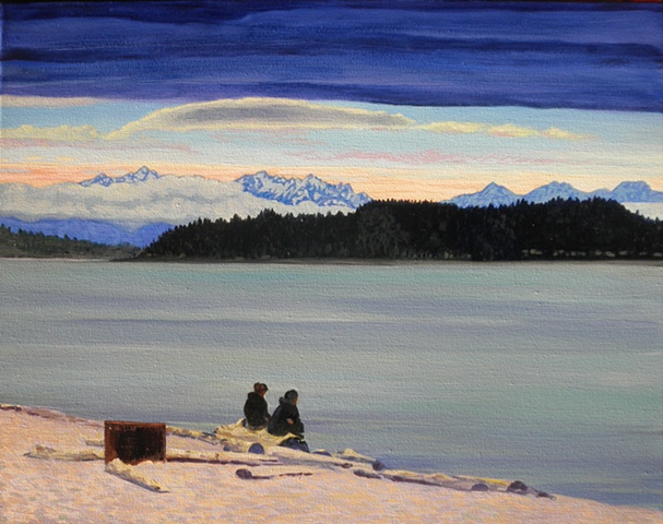 Olympic mountains ,couple,  Alki, Seattle painting by Patri O'Connor