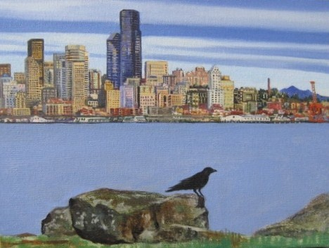 Seattle sky line with crow
