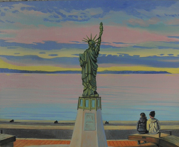 Alki's version of the Statue of Liberty, Seattle, vivid color, couples, painting by Patri O'Connor
