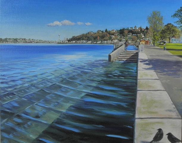 Alki Boardwalk with Crows, Seattle painting by Patri O'Connor