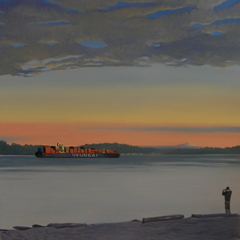 Hyundai container ship on the Puget Sound painting by Patri O'Connor