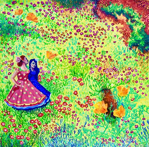 Spring flowers, traditional dress of Chile, 18 de Septiembre, surrealism, modern art, oil painting
