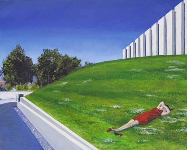Seattle, Olympic Sculpture Park, woman taking a break.,the sun is out in Seattle, Painting by Patri O'Connor