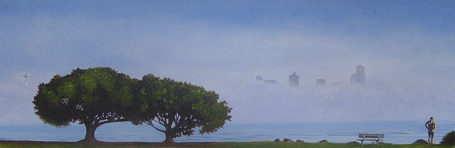 Seattle view obstructed by fog, dreamy, painting by Patri O'Connor