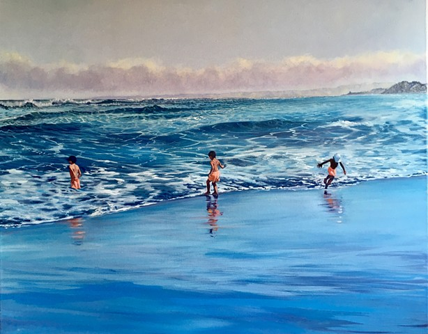 Rocas de Santo Domingo,  tres niñitos en la playa, Chilean Beach paintings