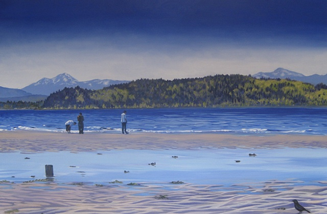 Three men on Alki Beach, painting by Patri O'Connor