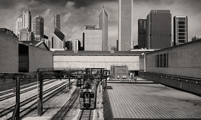 A Train Passes Under the Art Institute of Chicago