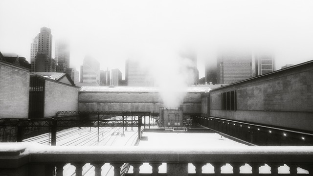 Fog and Snow on Jackson Bridge, Near the Art Institute of Chicago