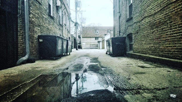Alley Shortcut with Puddle