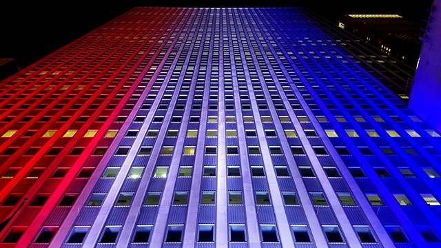Prudential Plaza in Red, White, & Blue