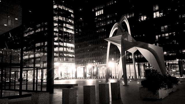 Calder's Flamingo Sculpture at Night
